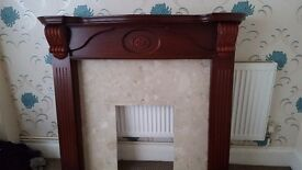 Fire surround with marble back