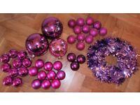 PINK & PURPLE CHRISTMAS DECORATION BUNDLE - WREATH & 38 BAUBLES