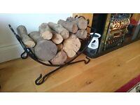 Wrought Iron Log Basket - Holder/Storage - Fireplace Decoration - Heart Design