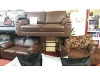 3+2 EX CATALOG SOFA IN A GRADE CONDITION TO CLEAR IN PU LEATHER £349
