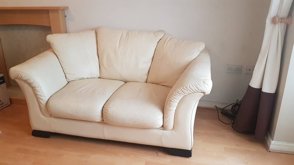 Cream leather 2 seat sofa couch settee