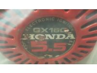 Honda GX160 5.5hp Motor In good running order, quiet and smooth. 20mm side exit keyed shaft.