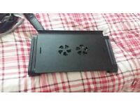 Portable fold away laptop table with twin fans