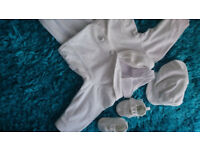 White baby boy suit + hat + shoes