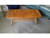 Vintage Ercol Coffee Table Blonde With Magazine Rack