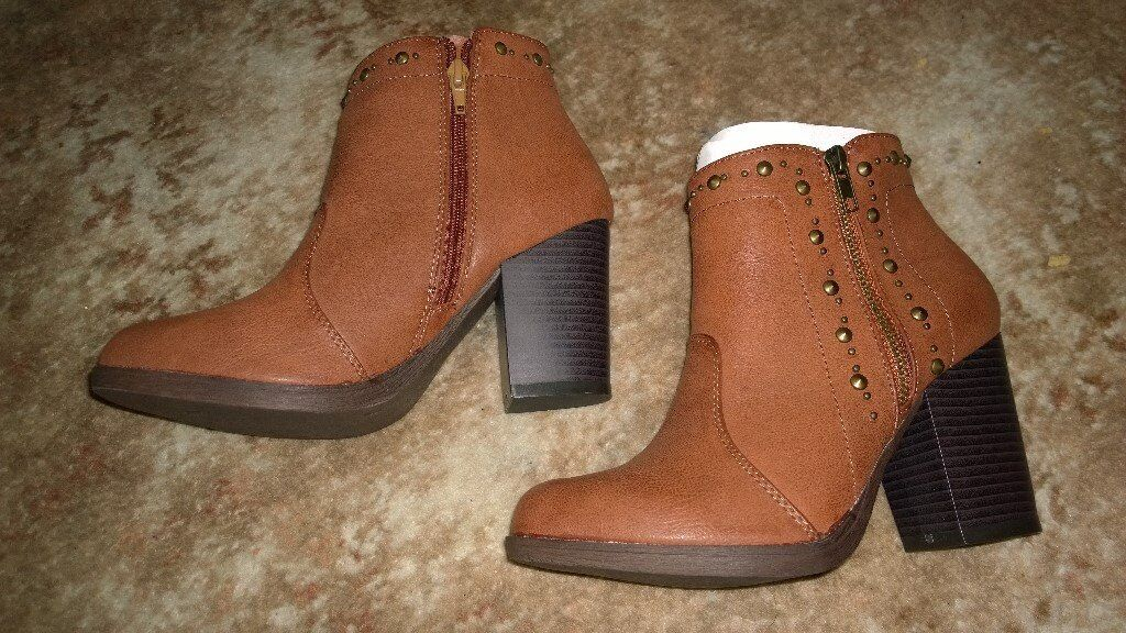 Women's brown high heel zip up ankle boots, size 6 brand new