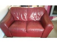 Sterling red leather 2 seater sofa very comfy