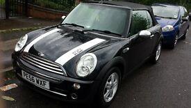 2006 mini one convertible black 1.6 petrol, 12 months mot, low miles at 62 thousand.