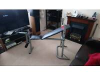 Weights incline bench with leg extension