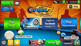 8 ball pool account with over 150million coins and 712 cash