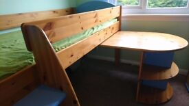 Stompa Midsleeper Cabin Bed, with desk and cupboard