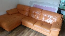 Dfs retro leather sofa and swivel chair