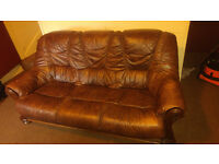 Genuine Brown LEATHER Sofa 3 Seats - Excellent Condition
