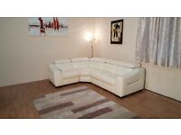Ex-display Elixir sneaker white leather standard corner sofa with adjustable headrests