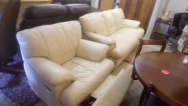 Cream Leather 3 seater sofa + recliner chair...£125. Stalybridge SK15 Local DELIVERY