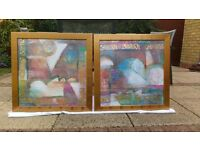 Pair of abstract pictures in modern gold frames 70 x 70cms
