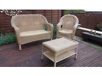 Three piece rattan garden furniture set