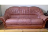 very comfortable three seat leather sofa with two chair in very good condition