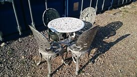 OLD CAST ALUMINIUM TABLE AND CHAIR SET