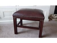 Chesterfield Style Leather Topped Dark Brown Footstool