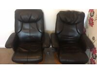 Leather massage chairs with stools