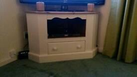 Solid pine corner TV unit