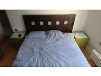 King size wooden bed frame incl. headboard & orthopedic mattress