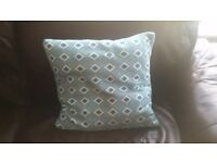 Geometric Cushion Knitted Duckegg Duck Egg Turquoise Green Blue