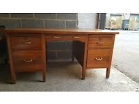 Vintage desk with leather inlay
