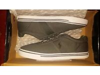 Brand New Grey Polo Ralph Lauren Hanford DP GY/DP Canvas Shoes - UK SIZE 10 - ONLY £39 (RRP 80)