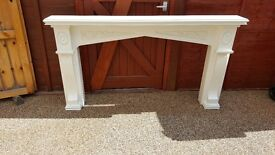 Heavy wooden fire surround finished in Rustoleum furniture paint