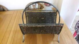 Cast iron and wicker magazine or files rack