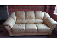 3- seater leather sofa with 2x armchairs + dining table for sale