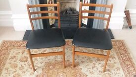 2 Solid Wood Vintage Retro Dining Chairs