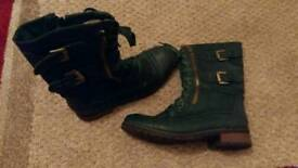 Ladies Green Combat Boots 6