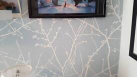 Wall Paper - 1.5 rolls - Duck Egg blue with silver-white design, woodland trees