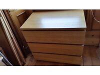 Ikea Malm Oak Chest of 3 Drawers