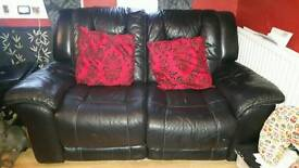 3 seater 2 seater and single black leather recliners