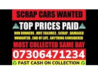 ♻️ SCRAP CAR VAN WANTED FAST CASH ON COLLECTION TODAY ANY CONDITION DAMAGED NON RUNNER