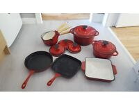 Cooks Professional Deluxe Eight-Piece Cast Iron Cooking Pots & Pans Set in Red
