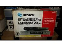 """STEREN"" 2 WIRELESS VHF MICROPHONES SYSTEM"