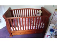 Beautiful dark oak sleigh cot bed with drawer