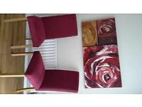 Marks and Spencer 4 dining chairs claret fabric