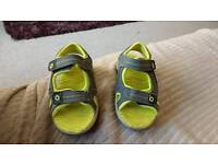 Boys size 7 sandles grey with yellow in sole