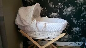 white moses basket with stand, still like new my baby prefers to sleep in beanbag