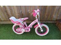 Girls 14 inch wheel hello Kitty bike with helmet very good condition