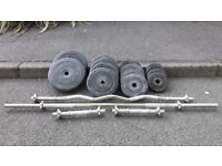 VINYL 78KG WEIGHTS SET WITH EZ BAR, DUMBBELLS & BARBELL