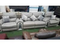 Ex display Teo real leather grey 3+1+1 seater sofa