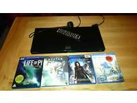 Samsung 3d blu ray dvd player and 4 3d dvds