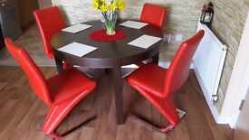 Four Red Dining Table Chairs